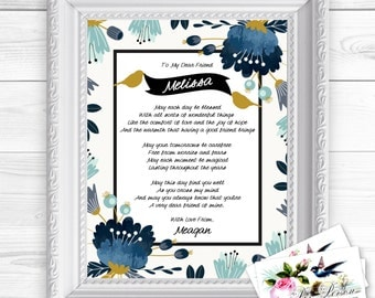 "Personalized / Custom Gift Dear Friend Poem, Friends, BFF, Besties Wall Art Sign  8x10"" Any Names, Printed, Flowers"