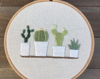 embroidered succulent pots