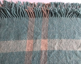"WOOL Blanket SAMBAND Iceland Pastel Turquoise Winter White Wide Stripes 77 x 62"""
