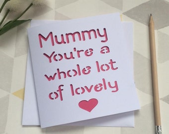 Mummy card, card for mummy, mummy mother's day, mummy birthday, mother's day card, wife mother's day, mothering sunday, card for mum