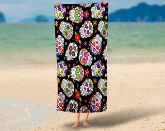 Sugar Skull Beach Towel  36 in x 72 in