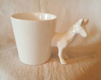 White Glazed Ceramic Horse Mug/Planter/Vase/Desk Accessory