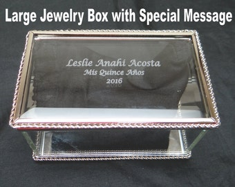 Personalized Glass Jewelry Box, jewelry box, glass box, glass jewelry box, trinket box, keepsake box, Flower Girl, Bridesmaids, Quinceañera