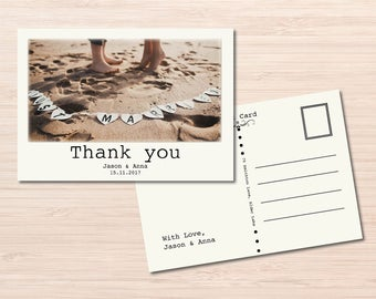 Thank You Postcard ~ Wedding Postcard ~ Just Married Sign ~ Mr and Mrs ~ Thank You Cards ~  Newlywed Card ~ Vintage Postcards ~ Postcard Set