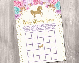 INSTANT DOWNLOAD - Baby Shower bingo, Unicorn bingo cards, unicorn baby shower, Baby Girl Printable Bingo, baby shower bingo game