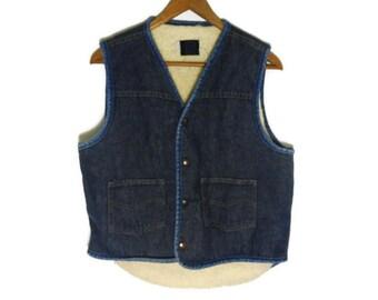 Vintage 70s Roebucks Sherpa Lined Jean Vest - Small Mens - Medium Womens - Western Clothing - 70s Clothing - Cowboy Vest - Denim Vest -