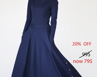 Long skirt - Long skirt for women - Maxi skirt - Long blue skirt - Blue skirt - Blue maxi skirt - Skirt with pockets - Skirt womens