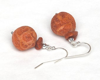 Grass Coral Earrings on sterling silver