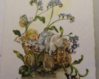 Vintage Baby Announcements from early 1960s - sleeping baby in wagon with flowers