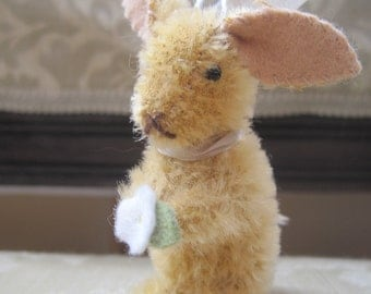 Tiny Mohair Rabbit Ornament with Flower