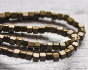 """Square Metal 3mm Beads 12"""" Strand Bronze Color"""