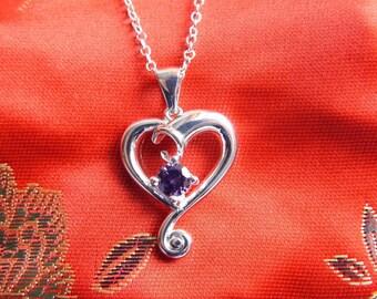 Sterling Silver Purple Cubic Zirconia Heart Pendant & Chain