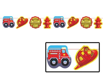 Colorful 12 Ft Firefighter Party Garland! - Firefighter Theme - Fireman - Firefighter Birthday Party Decor