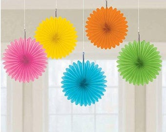 Set Of Five Sweet 6 Inch Multi Color Hanging Paper Fan Decorations In pink, yellow, green, blue and orange!