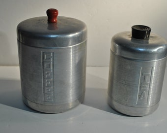 2 Lot Vintage Spun Aluminum Coffee and Tea Canisters with Black & Red Plastic Handles