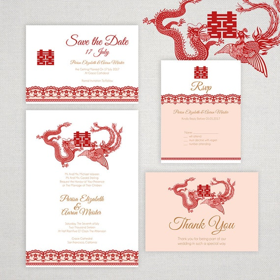 DIY Printable Editable Chinese Wedding Invitation Save The