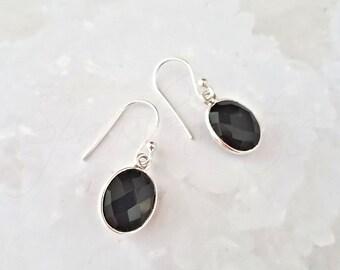 Black Onyx Earrings, Onyx Dangle Earrings, Black Gemstone Earrings, Black Onyx Oval Earrings