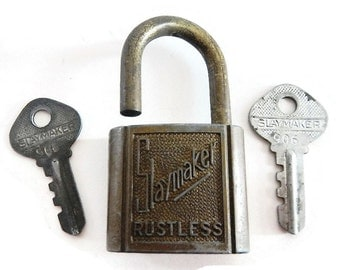 Vintage Slaymaker Rustless Lock and Keys - metal, industrial, hardware, rustic decor, made in USA, steampunk, padlock, craft supply,supplies