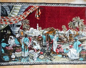 Vintage Wall Tapestry - Morocco, Moroccan - 1968 - Middle East scene, Mideastern, Northern Africa, desert, vibrant colors, rug