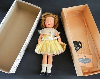 Vintage Shirley Temple Doll - original box, ST-12 -1950s -Ideal Toy Corp, black purse, doll tag, movie star, collectible, vinyl, sleepy eyes