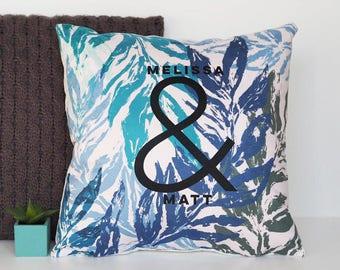 Couples Ampersand Botanical Cushion - Personalised Cushion - House Warming Gift - Gift For Couples - Botanical Cushion