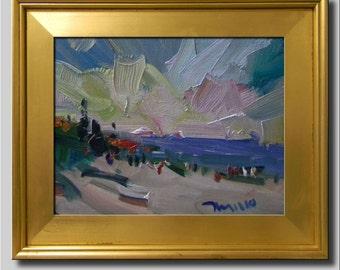 Plein Air Landscape Painting, Impressionist Oil Painting, Seascape, Water Painting, Beach Painting, Abstract Painting, People Painting