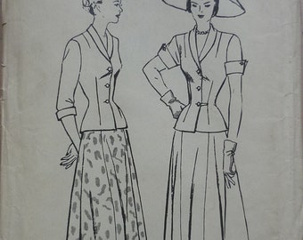 "original vintage sewing pattern. Butterick 4507,two piece suit dress. bust 34"""
