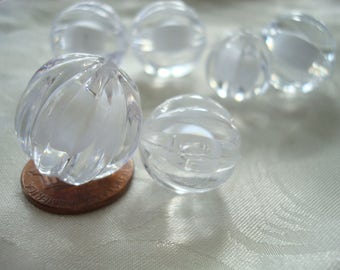 Big Clear Acrylic Mellon Beads. White Core. 2 Sizes-- 16 or 20mm 8&12pc Translucent Clear, Fluted, Solid, Balls. Great for Sun Catchers Too!