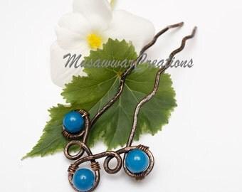Blue Quartz Hair Fork ,Hair bun Pin ,Antique copper Hair bun fork ,Celtic Hair copper fork, Hair accessories