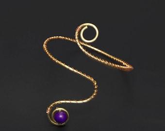 Brass Armlet, upper arm cuff bracelet, Armlet Wire wrapped copper ,Arm Cuff, Open end cuff,upper arm cuff