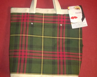 Vintage 60s70s  small plaid bag rare tartan bag green bag VINTAGE 1960s70s HANDBAG TARTAN Small tote