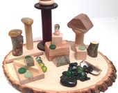 Natural Wooden Blocks//Wooden Spools//Pebbles//Stones/Marbles//Building Set//Loose Parts//Reggio Emilia Montessori Waldorf Toddler Preschool