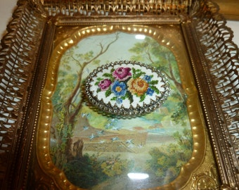 Vintage Sweet Petit Point Brooch From The 1960's
