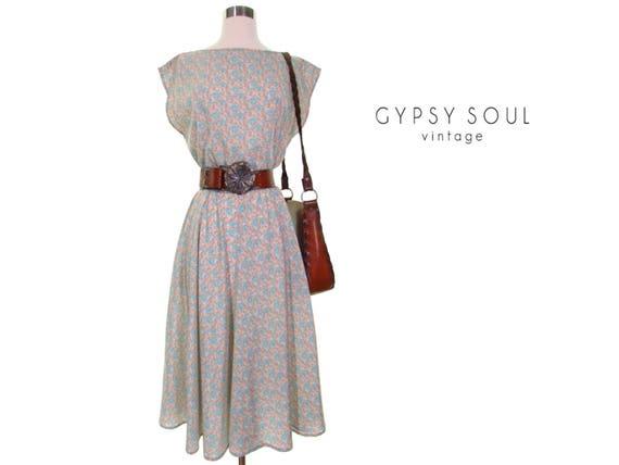 country western summer dress vintage 70s dress floral dress