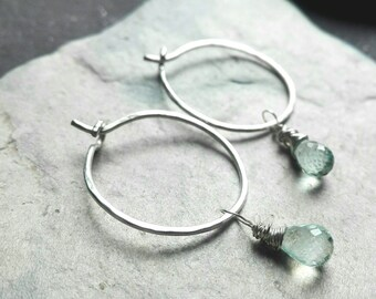 Sterling silver aquamarine hoop earrings