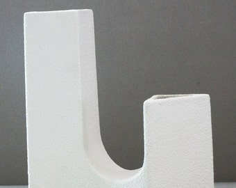 Bertoncello Mid Century Pure White Italian Sculpture Vase