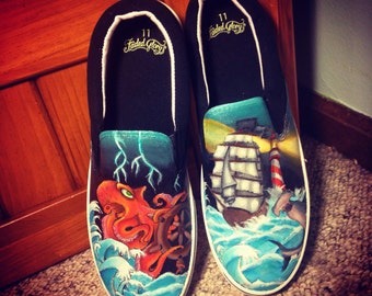 Custom handpainted nautical shoes