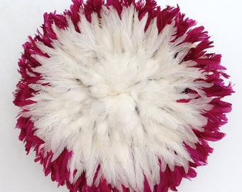 Juju Hat - Feather Headdress - Fuchsia & White - 50 cm/19.5 inches
