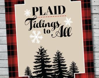 Plaid Tidings to All - Buffalo Plaid Christmas Printable Art