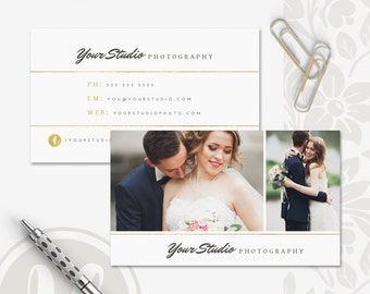 Photography Business Card - Gold Photography Business Card Template, Instant Download, Photoshop Template for Photographers, Calling Card