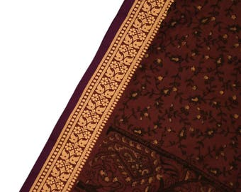 Antique Silk Saree Scarf Vintage Beautiful Silk Sari Stole Women Shawl Hand Printed Silk Sarong Curtain Drape PSS2423