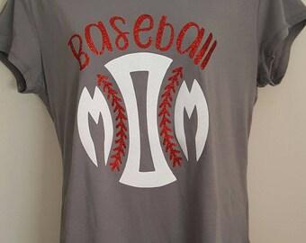 Baseball Mom T Shirt; Glitter Baseball Mom Shirt; Glitter Sports Mom Shirt