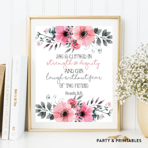 Verse She Is Clothed With Dignity: Instant Download, Bible Verse Printable Art, She Is