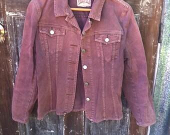 Denim jacket, brown jacket, faded brown denim jacket, vintage denim jacket, rusty brown denim jacket,