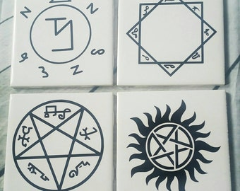 Supernatural Symbols Coasters Set of 4