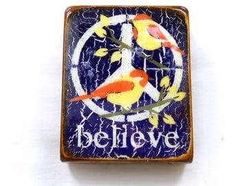 "Deep Purple Two Little Birds""Believe""-Orange/YellowBirds,acrylic/oil,HandpaintedLOVEGIFT,deep purple,GlossyResinCoat,solid,LightSpruceBlock."