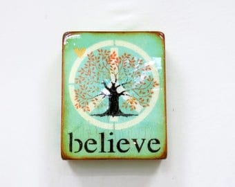 """Pale Sweet Mint Green, Golden Tree of Life """"believe"""" -SANCTUARY/yoga/meditation, LOVE, high gloss resin coat on solid,light hollow cradle."""