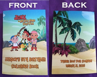 12 Personalized Jake and the Neverland Pirates Coloring Books, Party Favors