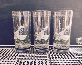 Vintage Anchor Hocking Spring Geese Rain Shower Drinking Glasses. Set of 3
