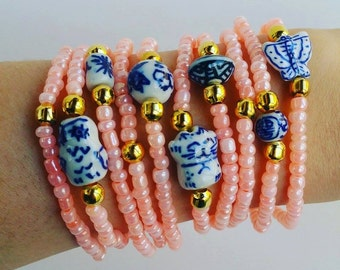 Coral bead Friendship Bracelets - Boho Chic Summer - porcelain beads arm candy - chinese beads - valentine gift - elastic bracelet - boho